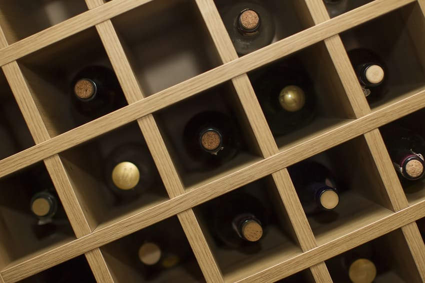 Wine rack with various bottles