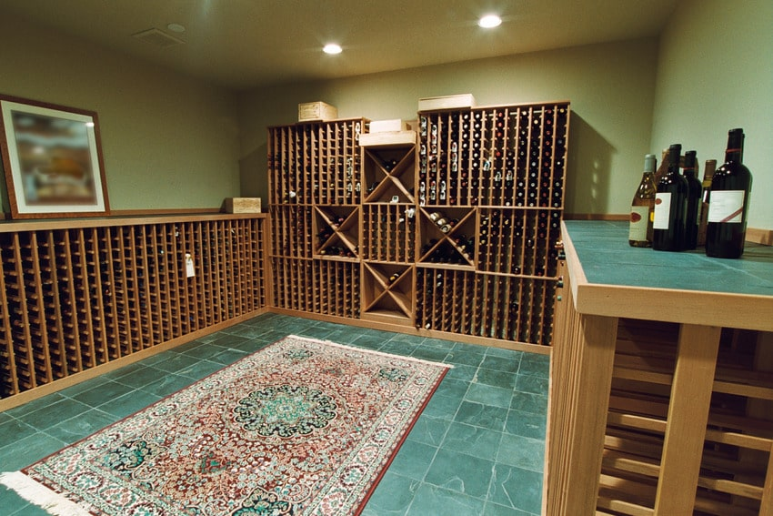 Wine storage room with various bottles of wine on display