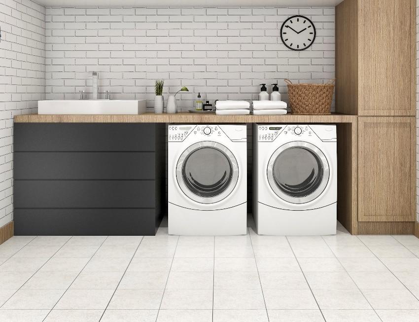 wood minimal laundry room with tile floors shelf and plant