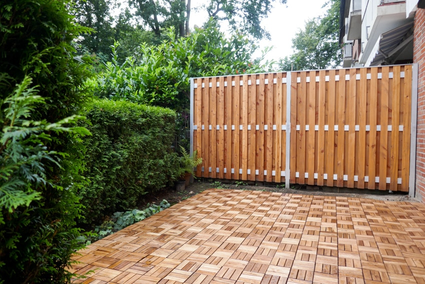 Wood tiles and wooden gate