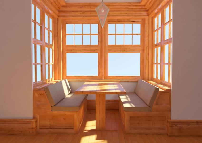 Wooden kitchen booth windows