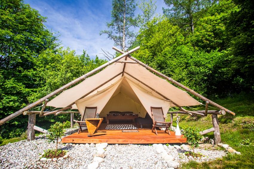 Wooden outdoor camping deck