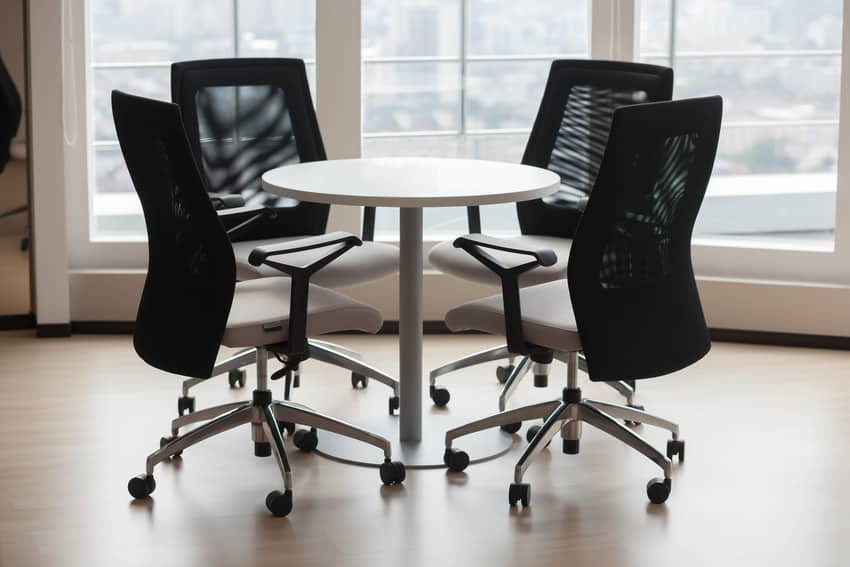 Woven office chairs in modern office