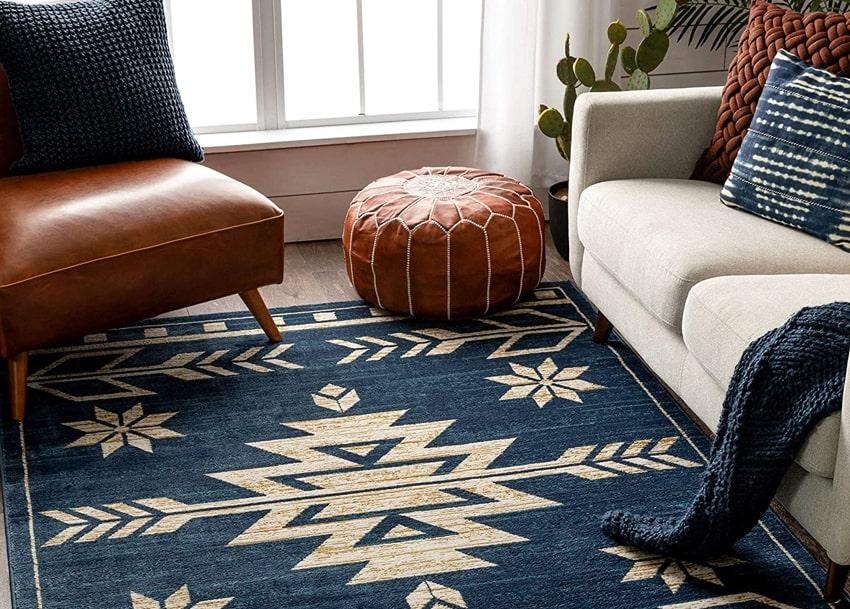 Woven southwestern bohemian rug