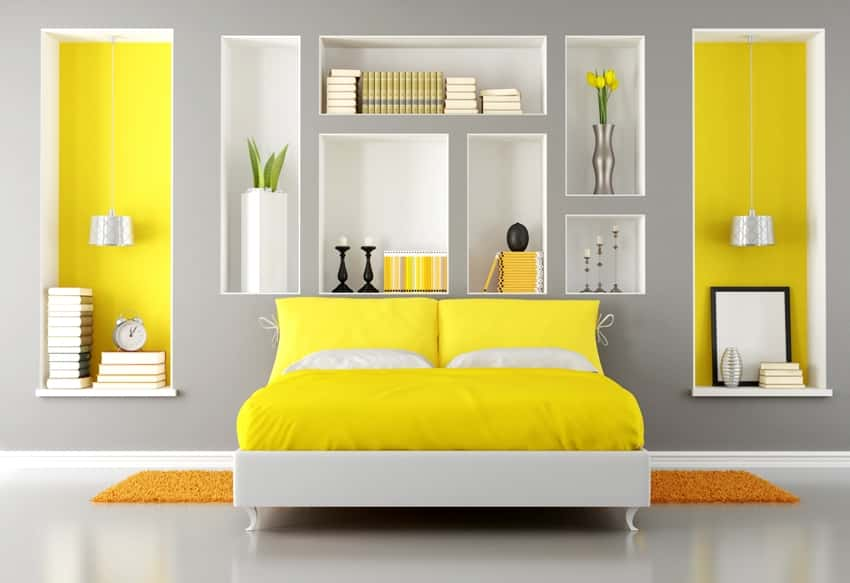 yellow and gray modern bedroom with double bed and orange carpet on the floor