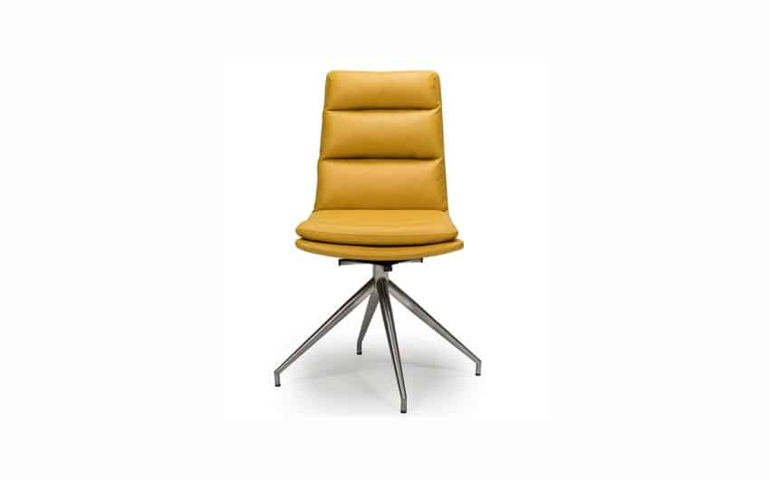 Yellow leather contemporary swivel armless chair