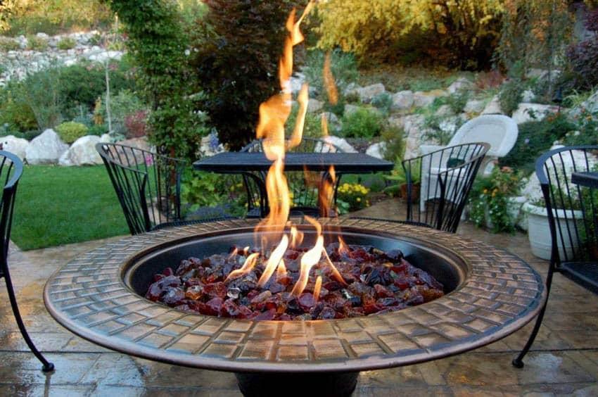 AZ patio firepit recycled glass