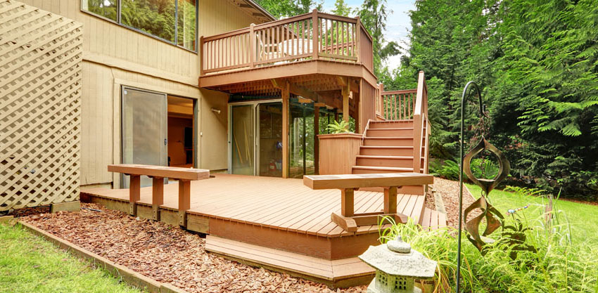 Backyard deck with benches