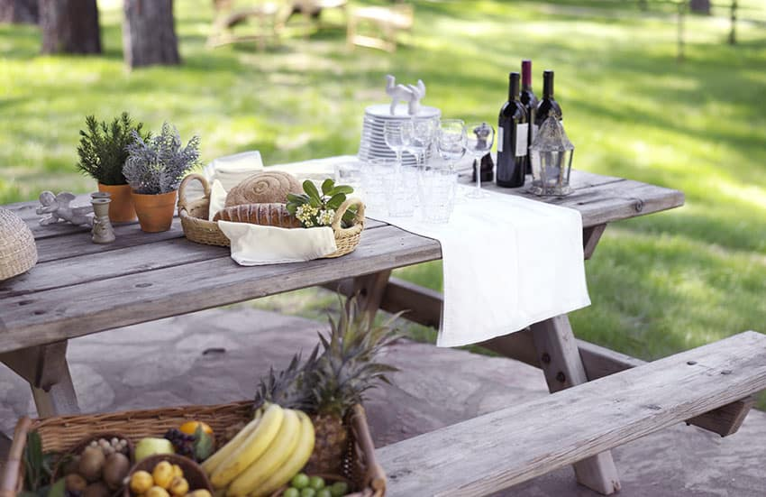 Backyard picnic table with fruit basket