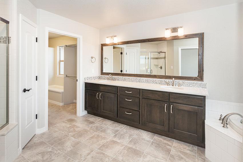 Bathroom double sink vanity light gray paint is