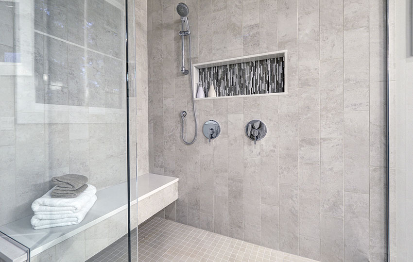 Bathroom with shower bench
