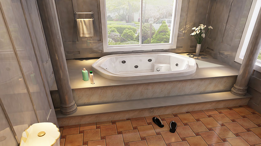 Bathroom with bathtub and tub steps sliding glass window is