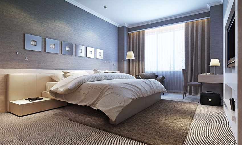 Bedroom with dark gray paint rug nightstand lampshade modern curtain is