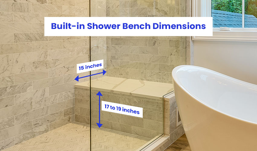 Built-in shower bench dimensions