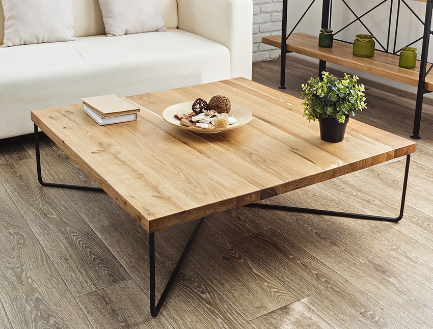 Coffee table with white couch