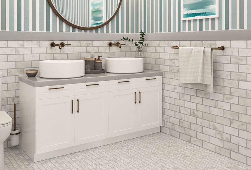 Double sink vanity with wall mounted faucet is