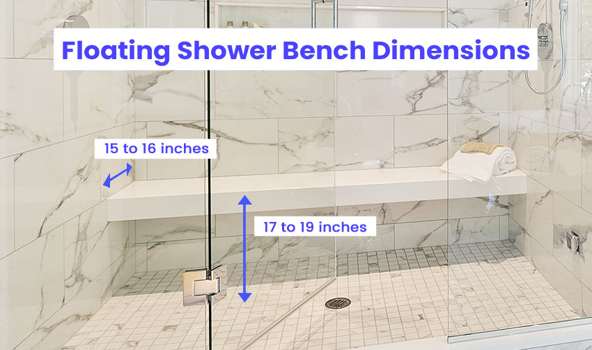 Floating shower bench dimensions