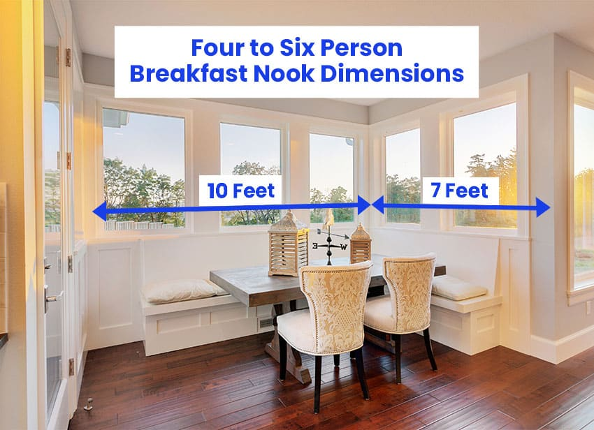 Four to six person breakfast nook dimensions