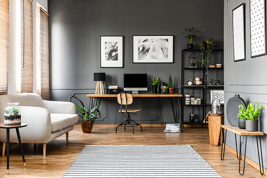 Home office with rustic furnitures black paint stripe rug white sofa ss