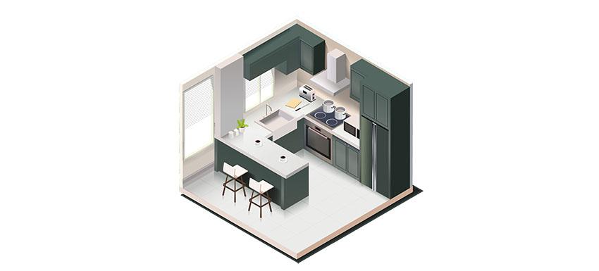 Isometric kitchen layout