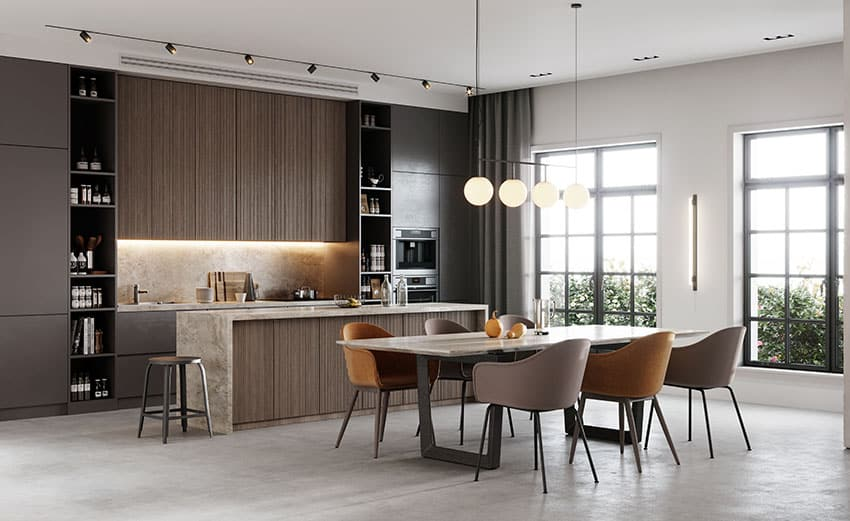 Luxurious kitchen and dining with brown cabinets pendant lights track lighting
