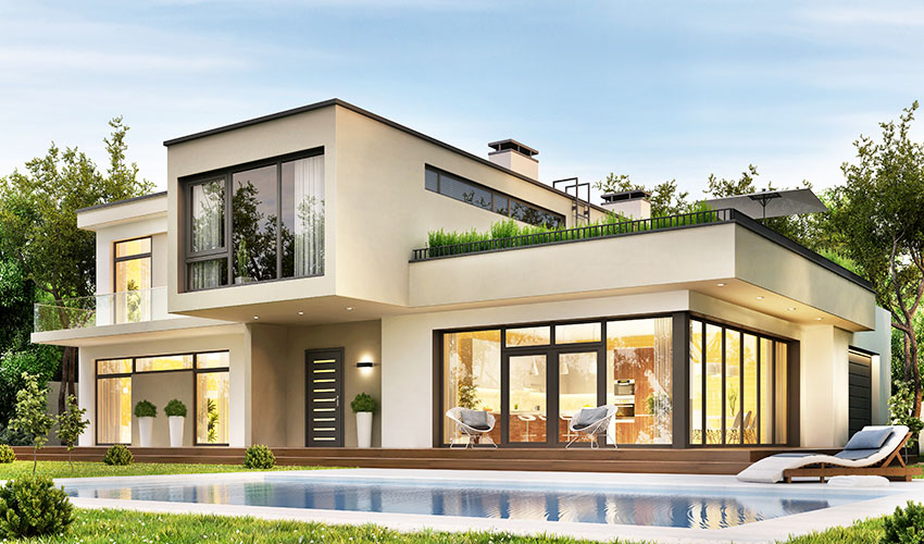 Modern house with flat roof pool picture window beige paint