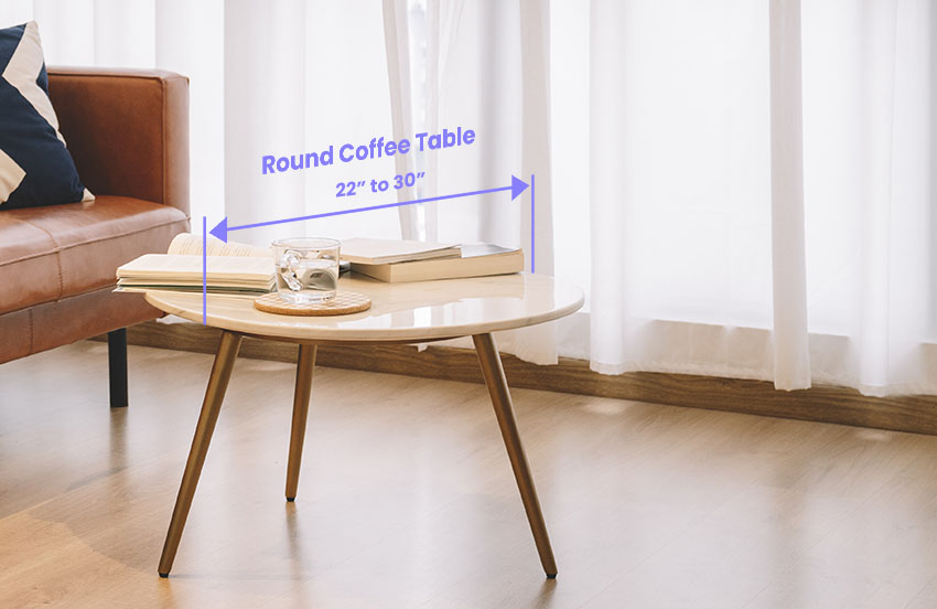 Round coffee table size