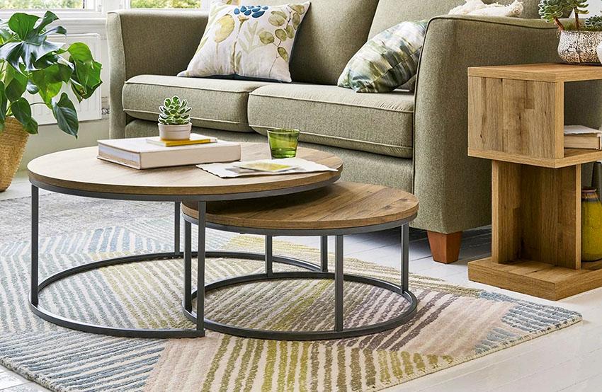 Rustic coffee table with rug sofa
