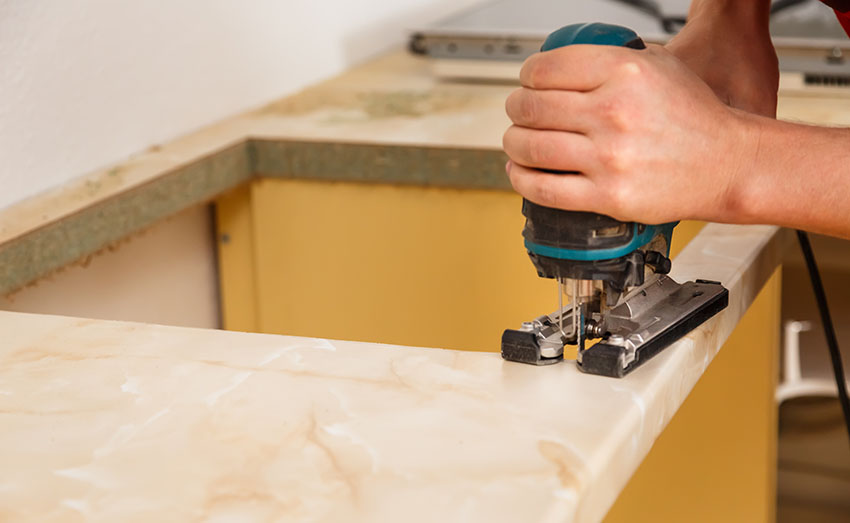Sewing countertop for sink mount