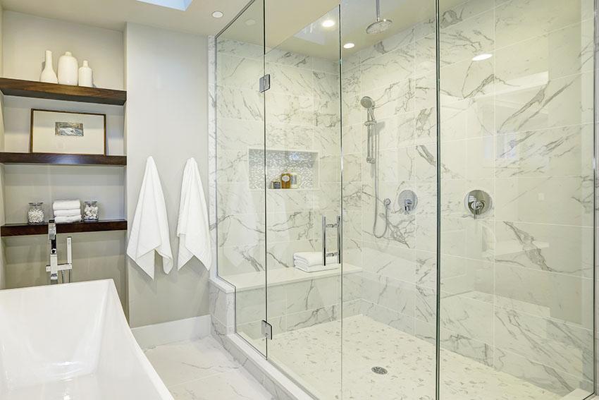 Shower with frameless glass doors
