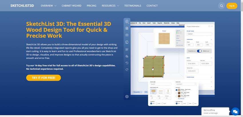 SketchList 3D wood working design software