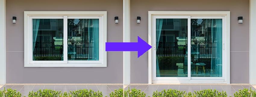 Sliding glass window to door conversion