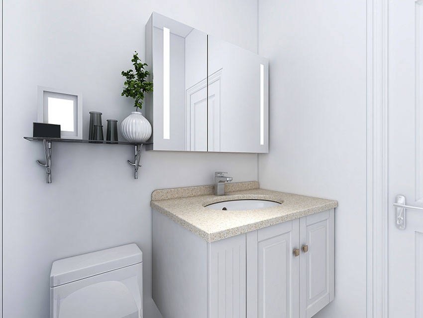 Small corner vanity with glass window cabinet gray paint is