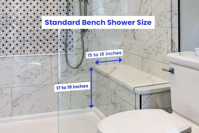 Standard shower bench size