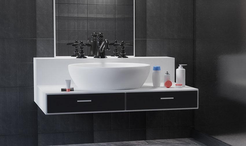 Vessel bathroom sink with bridge faucet black paint is