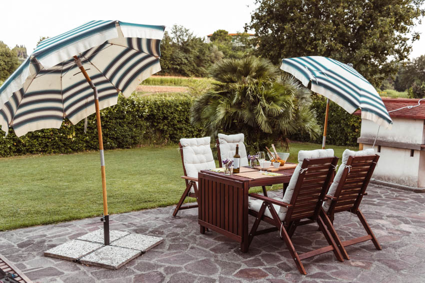 Backyard with table chairs and outdoor shade