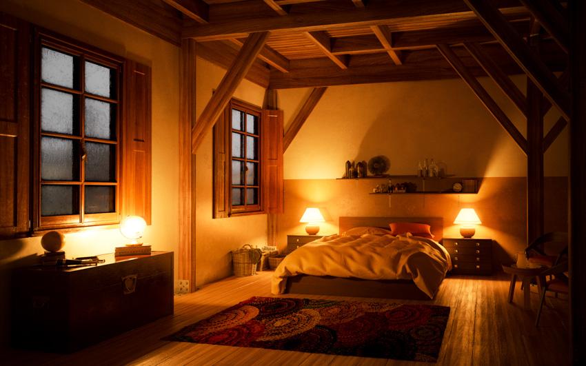 Barndoor shutters bedroom coffered ceiling lamps
