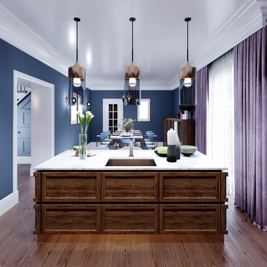 Barnwood center island flooring hanging lights midnight blue wall purple curtains