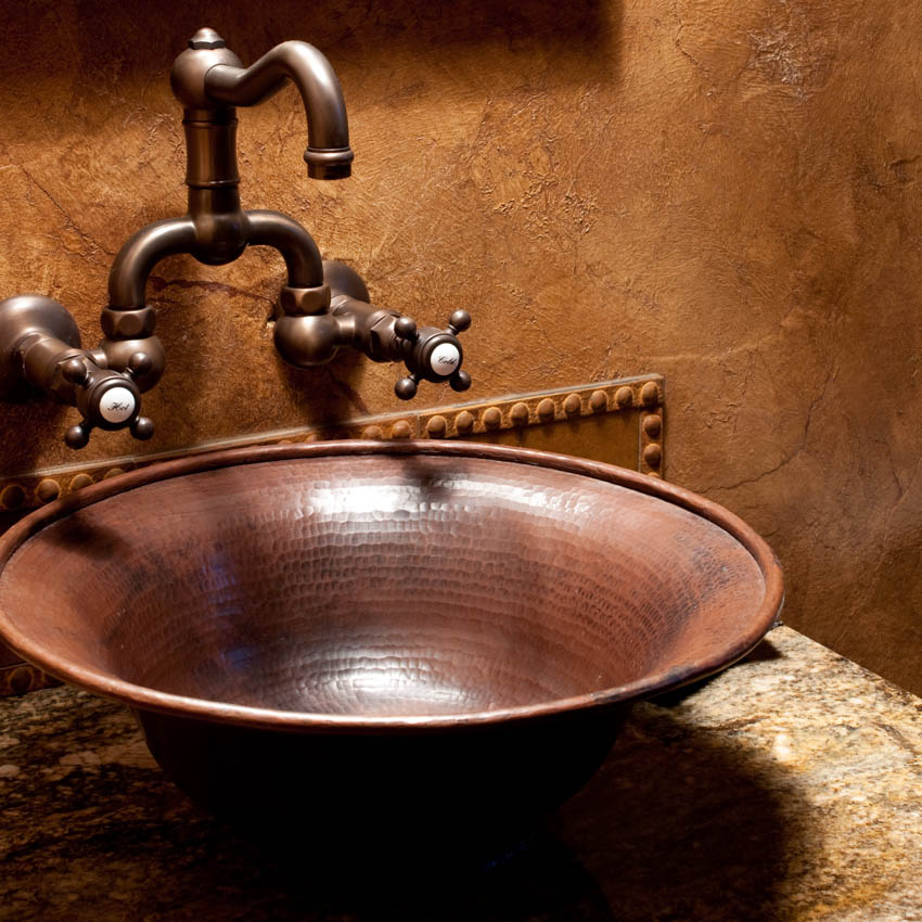 Basin sink made of copper classic faucet