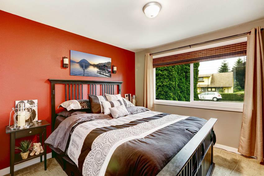 Bedroom interior with contrasting walls