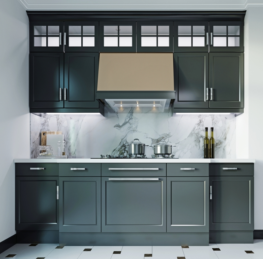 A black kitchen furniture with white walls and floor
