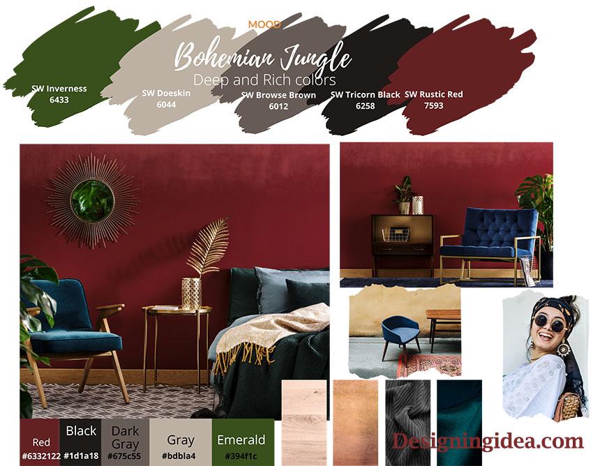 Bohemian jungle paint colors