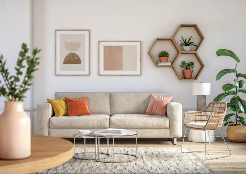 Bohemian living room beige accent rug wood floor indoor plant