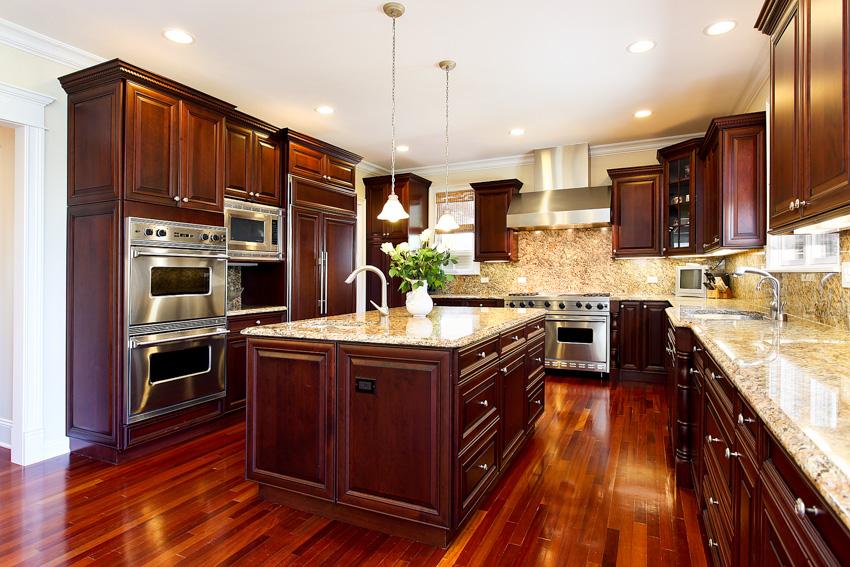 Brazilian cherry wood kitchen island floor cabinets