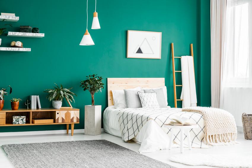 Bright bedroom shelf green wall hanging lights curtain