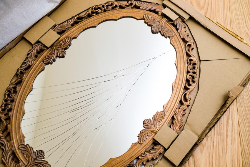 Broken cracked mirror