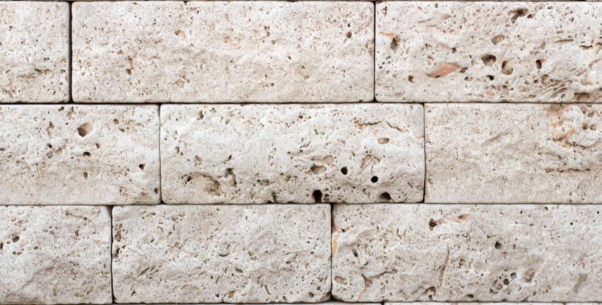 Brushed travertine bricks