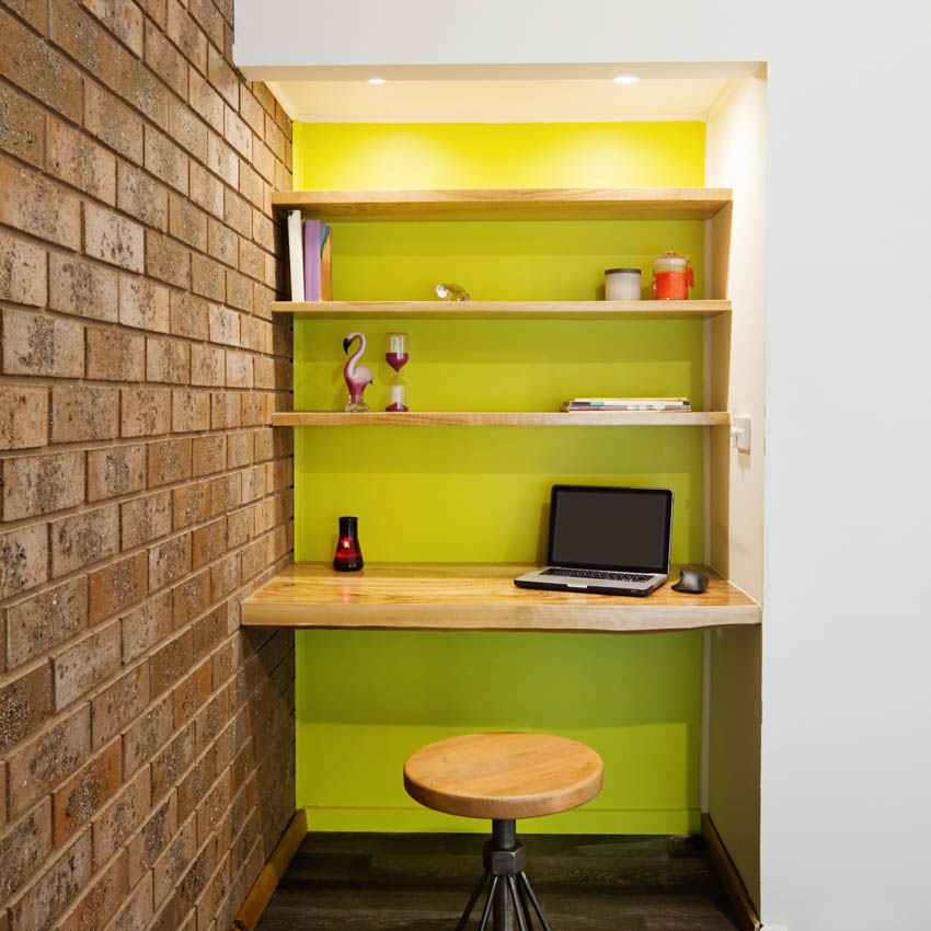 Converted closet into office wood shelves stool