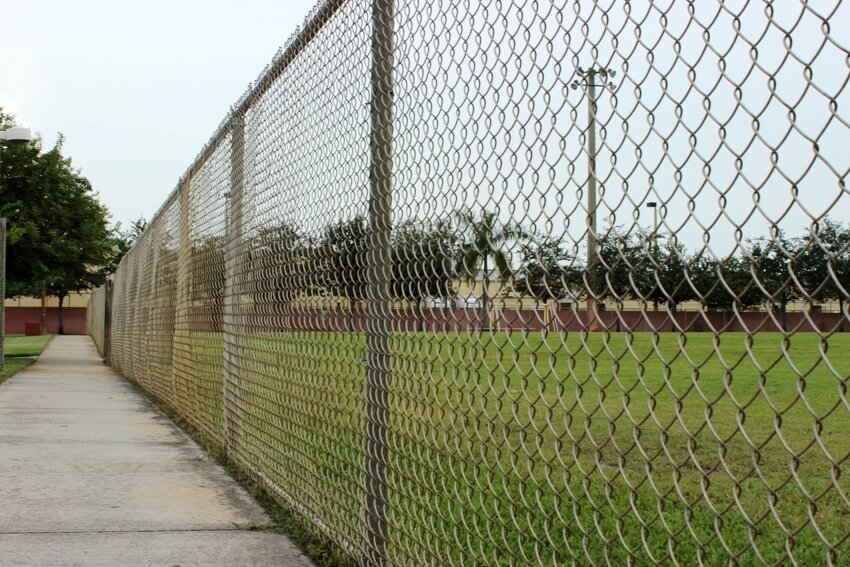 Chain link fence along the pathwalk