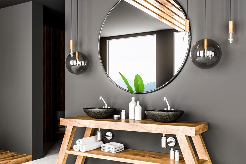 Circular mirror gray wall contemporary design